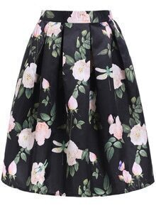 Flowers Print Zipper Skirt