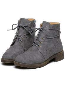 Grey Round Toe Lace Up Boots