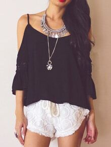 Cold Shoulder Crisscross Back Crochet Black Top