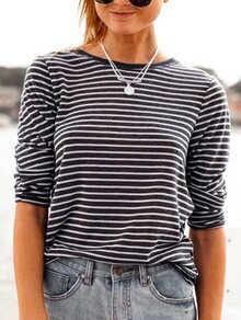 Long Sleeve Striped Black T-shirt
