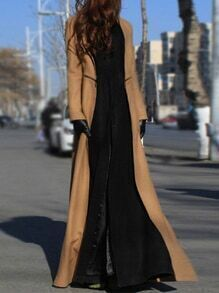 Stand Collar Slit Maxi Khaki Coat