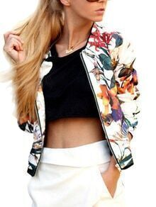 Florals Zipper Slim Jacket