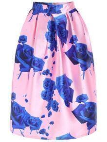 Rose Print Zipper Skirt