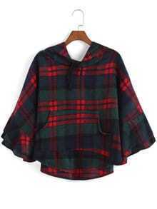 Hooded Bell Sleeve Plaid Patchwork Cape Coat