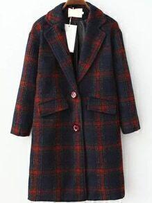 Lapel Plaid Pockets Long Red Coat