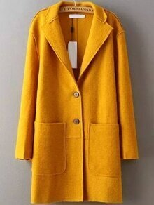 Lapel Pockets Buttons Yellow Coat