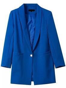 Notch Lapel Single Button Slim Blue Blazer