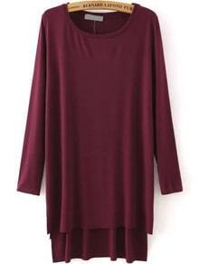 High Low Slit Side Maroon T-shirt