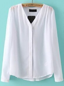 V Neck Chiffon White Blouse