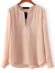 V Neck Long Sleeve Chiffon Apricot Blouse
