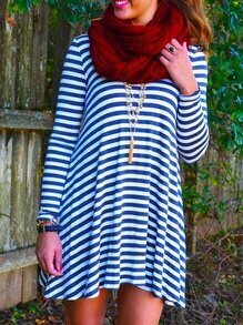 Striped Open Back Shift Dress