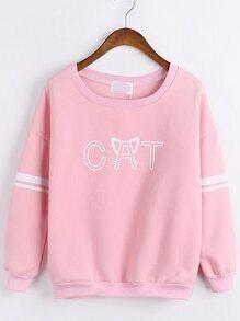 Letter Print Loose Pink Sweatshirt