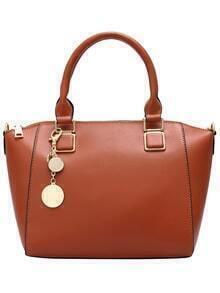 Brown Ring Embellished Zipper PU Bag