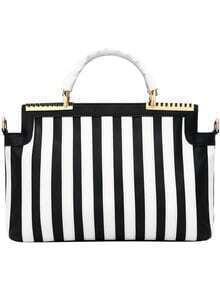 Color-block Striped PU Bag
