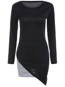 Color-block Long Sleeve Asymmetrical Tight Dress