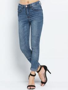 Cutout Denim Slim Pant