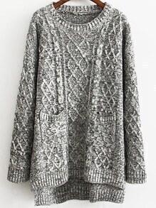 Dip Hem Cable Knit Pockets Grey Sweater
