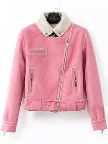 Lapel Zipper Suede Pink Jacket
