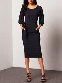 vestido manga de puff gasa cinturón skinny