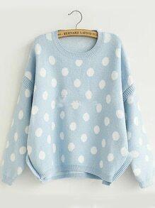 Dotted Dip Hem Blue Sweater