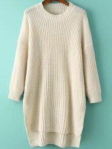 Dip Hem Slim Dolman Beige Sweater