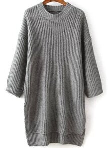 Dip Hem Slim Dolman Grey Sweater