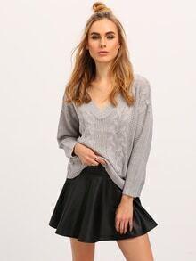 Grey Long Sleeve V Neck Sweater