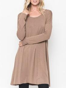 Nude Round Neck Casual Dress