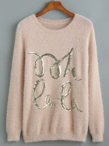 Aprioct Long Sleeve Sequined Sweater