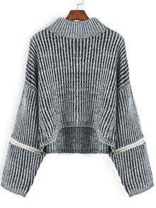 Dip Hem Zipper Dolman Sweater