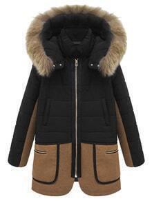 Hooded Faux Fur Zipper Pockets Black Coat