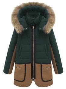 Hooded Faux Fur Zipper Pockets Color-block Coat