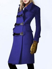 Stand Collar Pockets Buttons Long Blue Coat