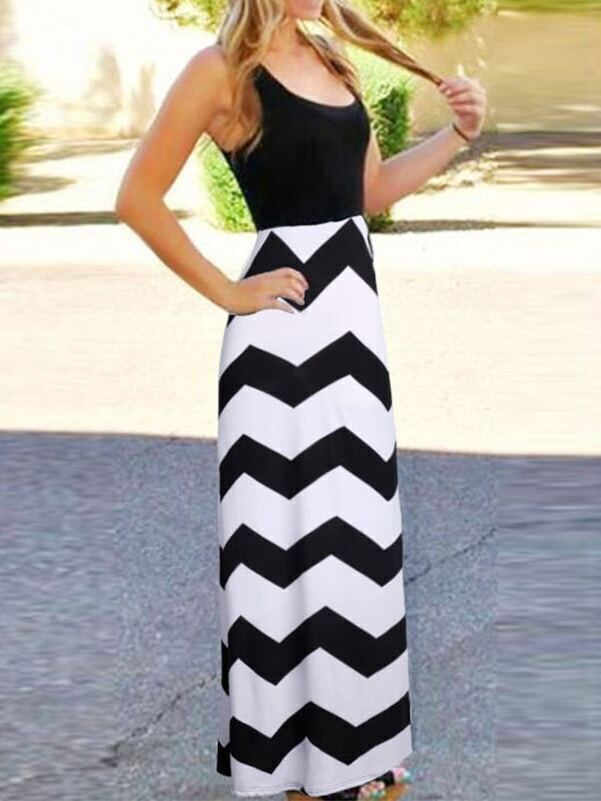 Sleeveless Zigzag Maxi Color-block Dress