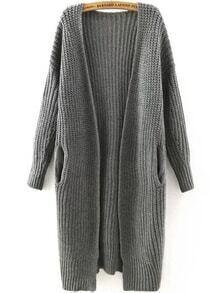 Long Sleeve Pockets Grey Coat