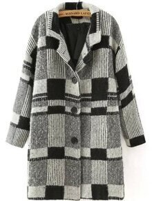Lapel Plaid Buttons Coat