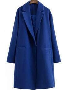 Lapel Long Sleeve Woolen Blue Coat