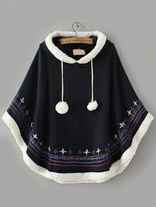 Hooded Embroidered Embellished Navy Cape Coat