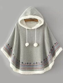 Hooded Embroidered Embellished Grey Cape Coat