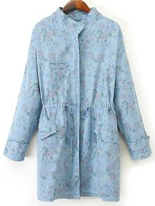 Stand Collar Rose Print Denim Coat