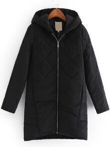 Hooded Zipper Straight Coat