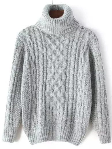 Turtleneck Cable Knit Grey Sweater