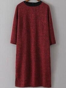 Round Neck Slit Wine Red Dress