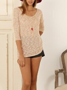 Apricot Round Neck With Button Sweater