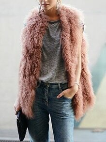 Camel Sleeveless Faux Fur Coat