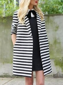 White Black Long Sleeve Lapel Striped Coat