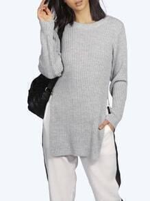 Grey Long Sleeve Split Sweater