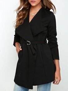 Black Long Sleeve Lapel Coat