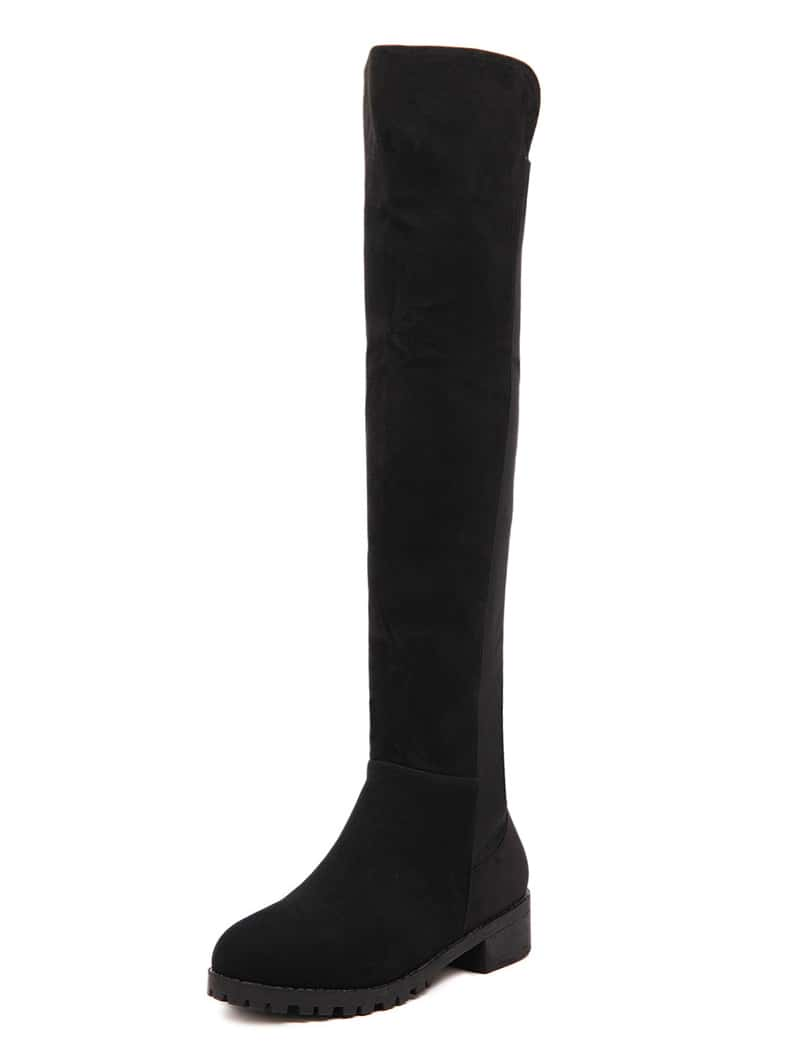 Black Zipper Over The Knee Boots