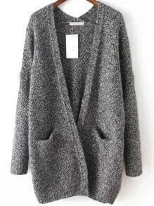 Slit Pockets Fuzzy Grey Coat